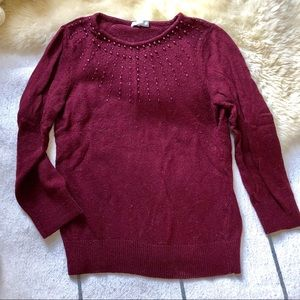 Adorable Beaded Embellished Burgundy Sweater Knit